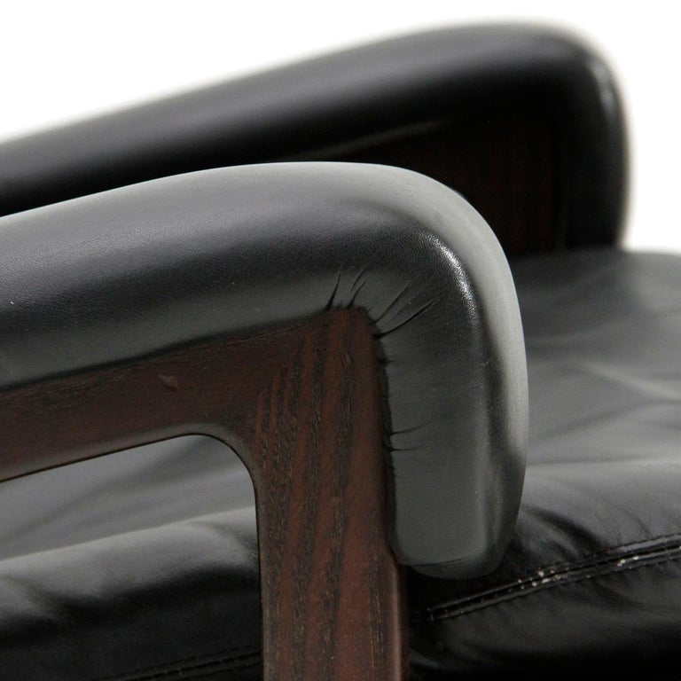 'King' Armchair with Ottoman in Black Leather by André Vandenbeuck for Strässle For Sale 4