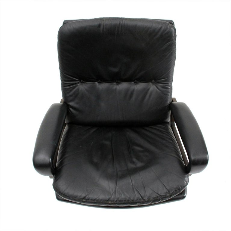 'King' Armchair with Ottoman in Black Leather by André Vandenbeuck for Strässle For Sale 5