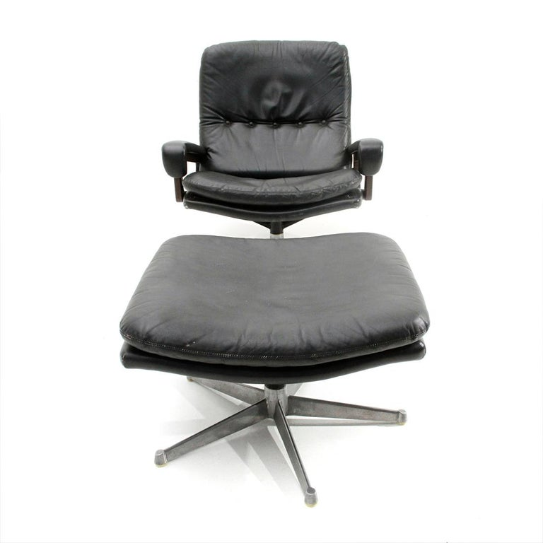 Swiss 'King' Armchair with Ottoman in Black Leather by André Vandenbeuck for Strässle For Sale
