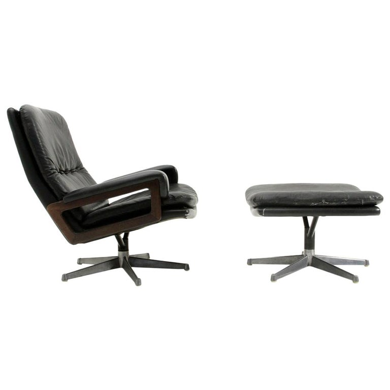'King' Armchair with Ottoman in Black Leather by André Vandenbeuck for Strässle For Sale