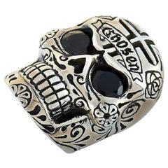 King Baby Chosen Sterling Silver and Garnet Skull Cross Ring