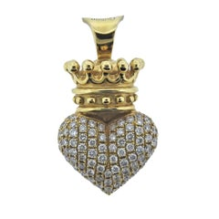 King Baby Diamond Gold Crowned Heart Pendant