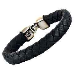 King Baby Sterling Silver and Black Leather Bracelet