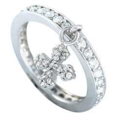 King Baby Sterling Silver and Cubic Zirconia Cross Ring