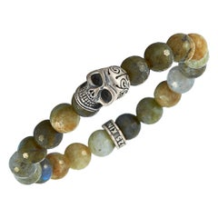 King Baby Sterling Silver and Labradorite Day of the Dead Skull Bracelet