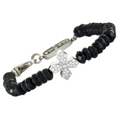 King Baby Sterling Silver and Onyx Beaded Bracelet