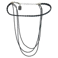 King Baby Sterling Silver Black Leather Spinel Multistrand Choker Necklace