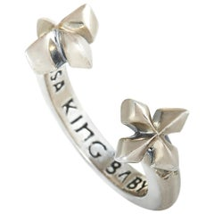 King Baby Sterling Silver Cross Open Ring