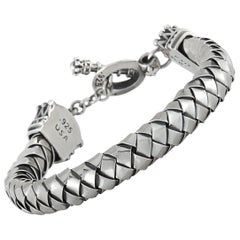 King Baby Sterling Silver Crown Toggle Clasp Bracelet