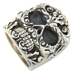 King Baby Sterling Silver Floral Scroll Skull Ring
