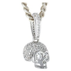 King Baby Sterling Silver Hamlet Skull Pendant Necklace