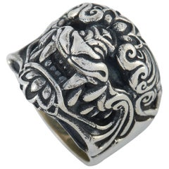 King Baby Sterling Silver Oni Mask Ring
