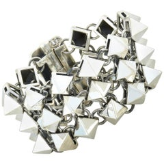 King Baby Sterling Silver Pyramid Chainmail Bracelet