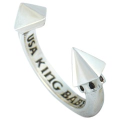 King Baby Sterling Silver Pyramids Open Ring
