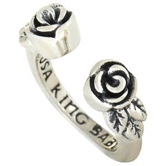 King Baby Sterling Silver Roses Open Ring