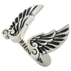 King Baby Sterling Silver Wings Open Ring