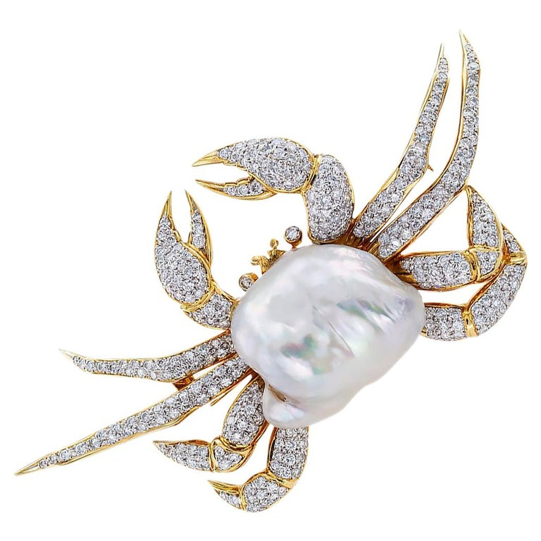 King Crab Diamond Freshwater Pearl Gold Brooch Pendant For Sale