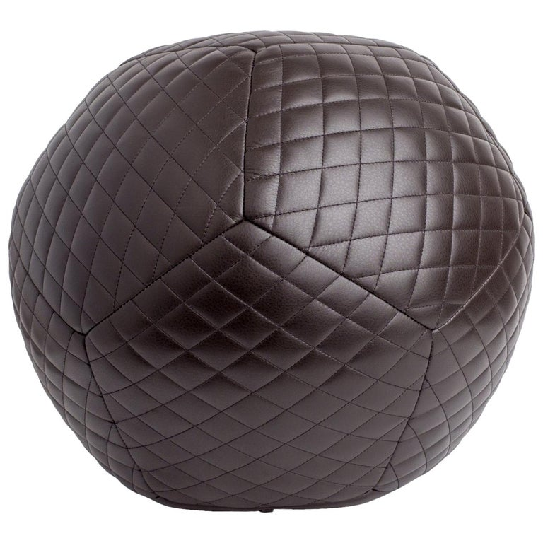 King Diamond Ottoman In Chocolate Brown Leather By Moses Nadel For