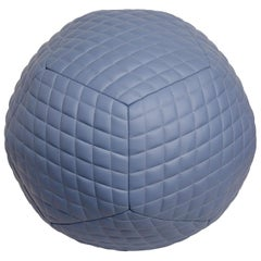 Large Diamond Ottoman in Slate Blue Leather by Moses Nadel