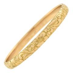 King & Dreher 14kt Carved Floral Bangle Bracelet
