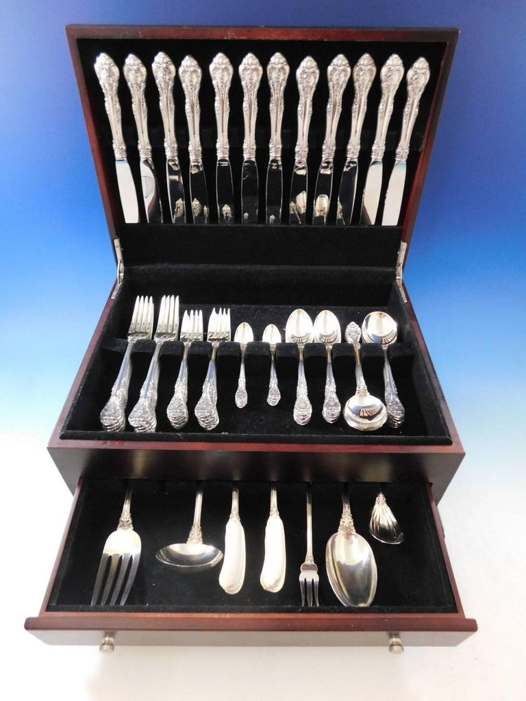 Outstanding Dinner size King Edward by Gorham Sterling silver Flatware set, 89 pieces. This set includes:  12 dinner size knives, 9 5/8