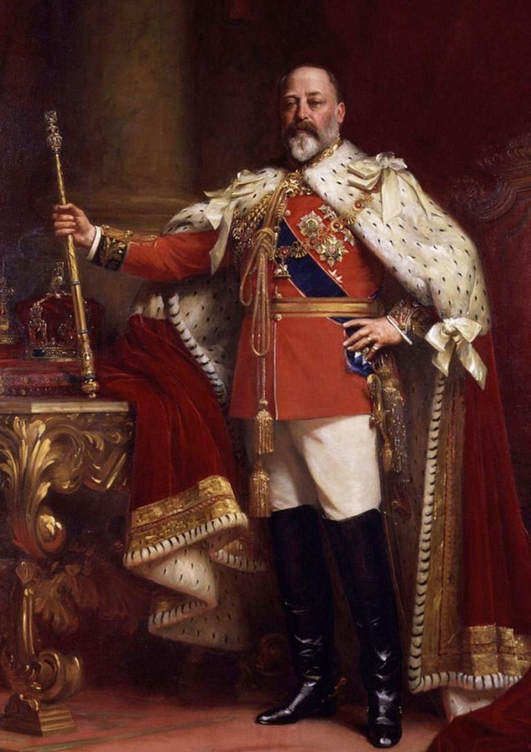 Edward VII's coronation took place in 1901, following the death of his mother Queen Victoria. He was 59 at the time and his reign was short, ending with his death in 1910. This brief period is known as the Edwardian era.   This was a time when