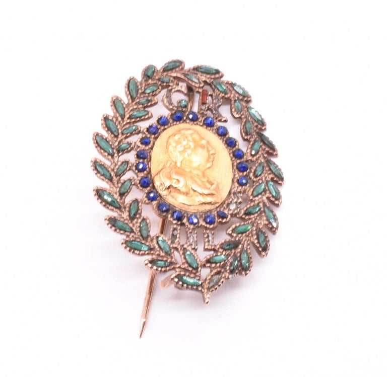 King George III Vauxhall Glass Commemorative Brooch In Good Condition For Sale In Baltimore, MD