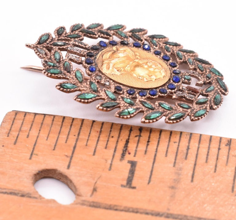Women's or Men's King George III Vauxhall Glass Commemorative Brooch For Sale