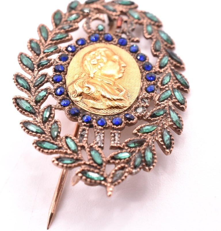 King George III Vauxhall Glass Commemorative Brooch For Sale 2