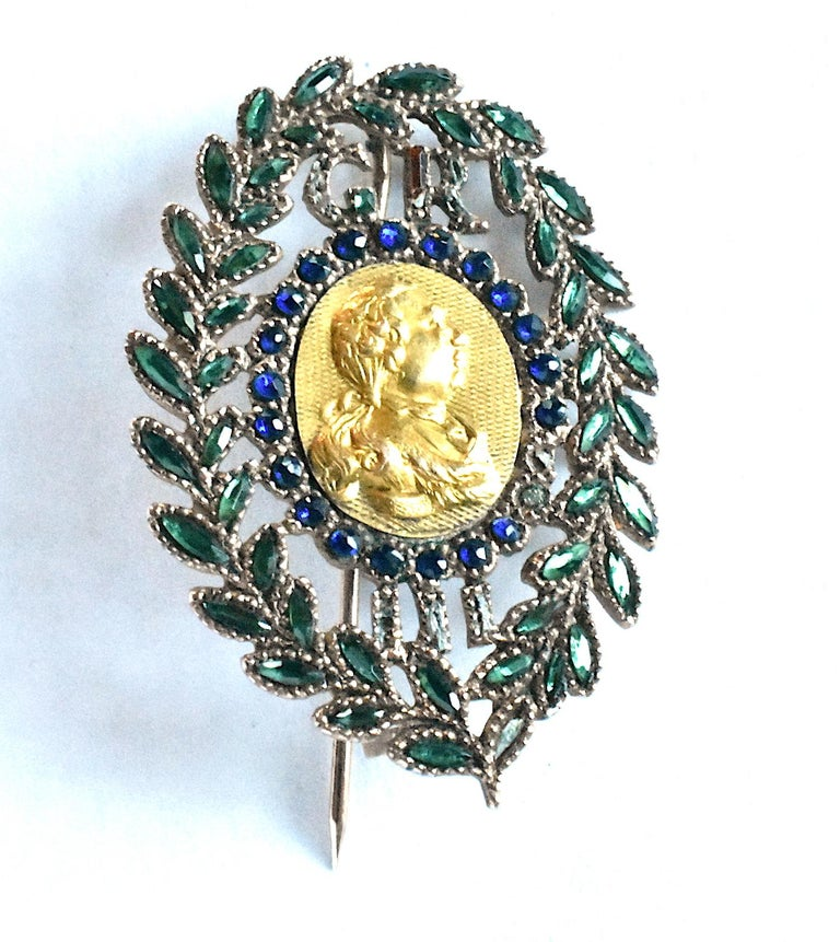 King George III Vauxhall Glass Commemorative Brooch For Sale 4