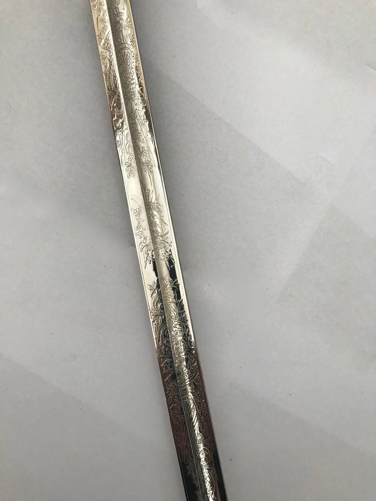 Nickel King Håkon VII of Norway Sabre Sword For Sale