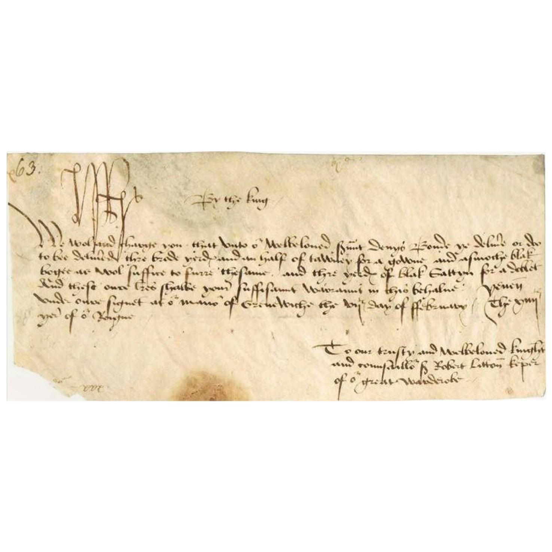 King Henry VII Genuine Original 16th Century Autographed Vellum Document, White