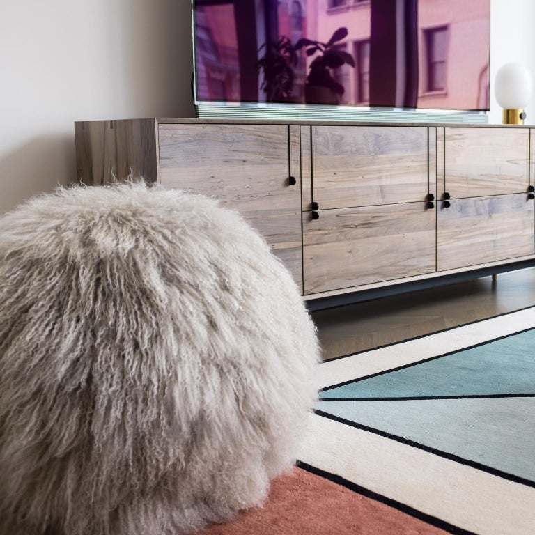 Hand-Crafted King Hudson Ottoman by Moses Nadel in Silvery Grey Tibetan Sheepskin  For Sale