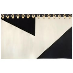 "Ingles Headboard Tapestry 84"" in Black, Cream and Gold by Moses Nadel"