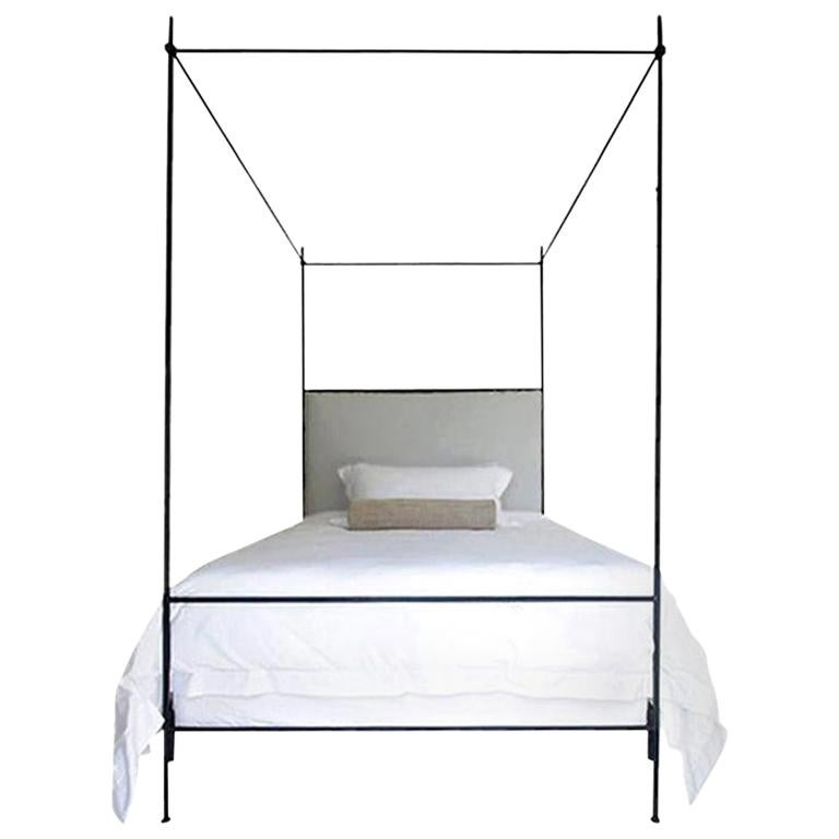 King Iron Louis XVI Style Upholstered Canopy Bed For Sale