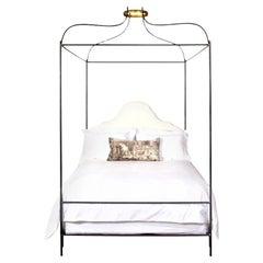 King Iron Venetian Upholstered Canopy Bed