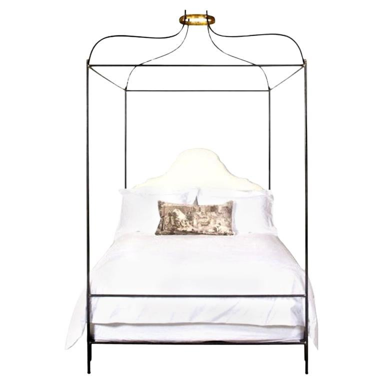 King Iron Venetian Upholstered Canopy Bed For Sale