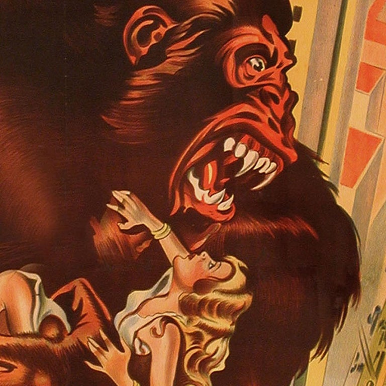 Original 1933 poster for the 1933 film King Kong directed by Merian C. Cooper / Ernest B. Schoedsack with Fay Wray. This 29 x 43