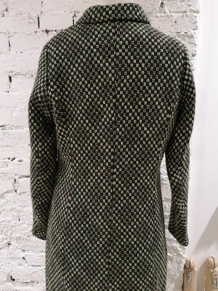 King Louie green wool coat green multicoloured coat totally made in italy in size FR 36 total lenght 94 cm shoulder to hem 61 cm