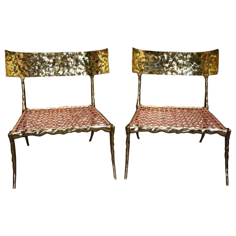 """""""King & Queen"""" Modern Brass Low Side Chairs For Sale"""