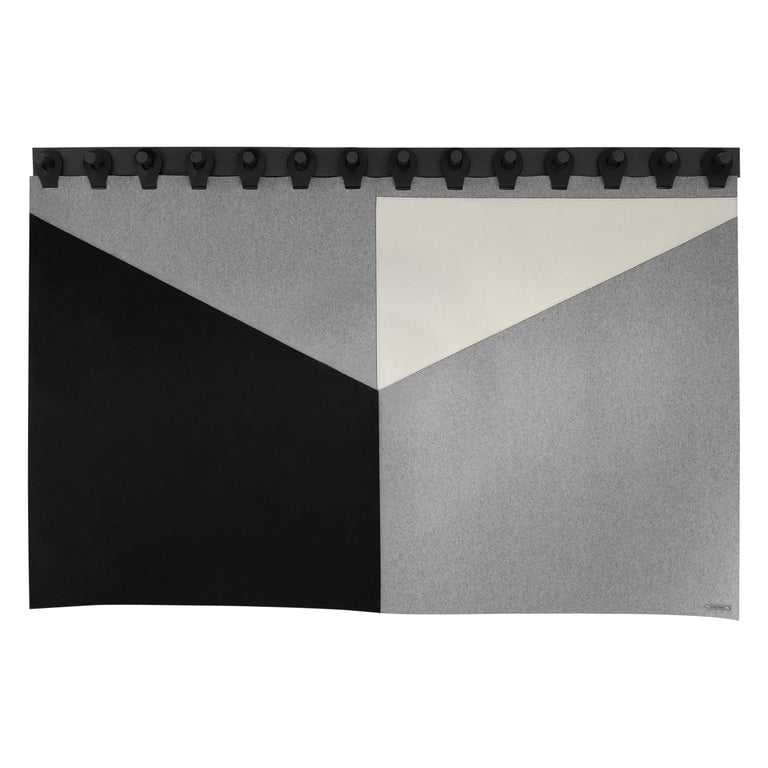 """Range Headboard Tapestry 84"""" by Moses Nadel in Black, Cream and Grey For Sale"""