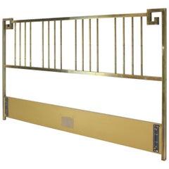 King Size Brass Headboard Bed by Mastercraft Greek Key Faux Bamboo