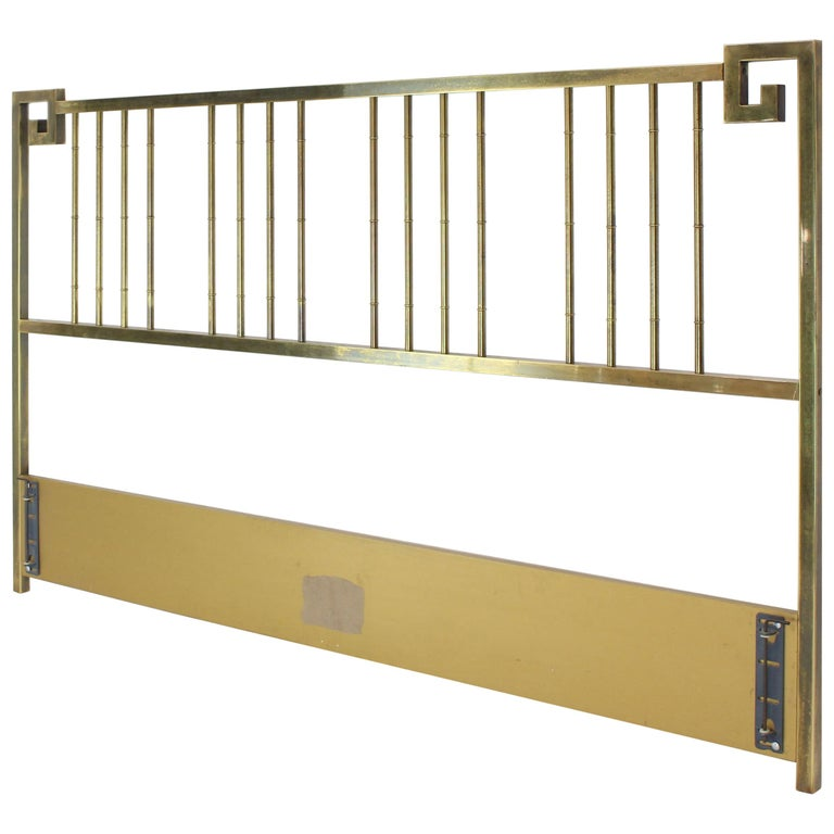 king size brass headboard bed by mastercraft greek key faux bamboo for sale at 1stdibs. Black Bedroom Furniture Sets. Home Design Ideas
