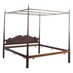 King Size Eldred Wheeler Tiger Maple Canopy Bed Frame