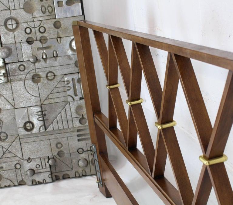 Mid-Century Modern X-pattern John Stuart brass and walnut headboard bed king-size.