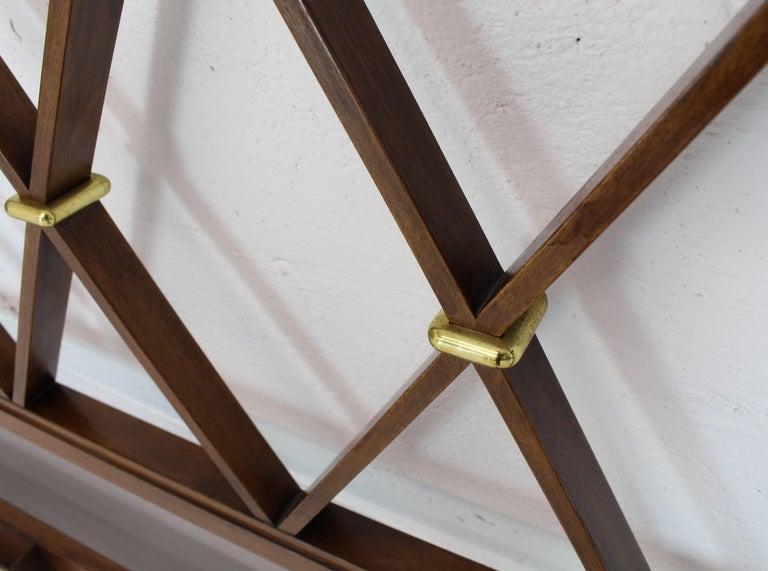Mid-Century Modern King-Size Headboard Bed 'X' Pattern Walnut and Brass For Sale