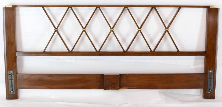 American King-Size Headboard Bed 'X' Pattern Walnut and Brass For Sale
