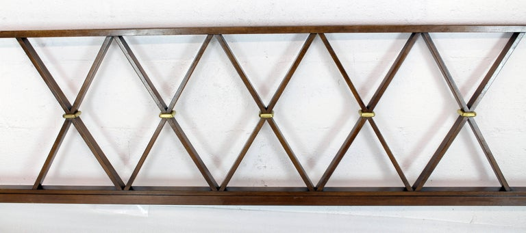 King-Size Headboard Bed 'X' Pattern Walnut and Brass In Excellent Condition For Sale In Rockaway, NJ