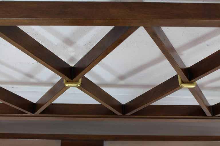 20th Century King-Size Headboard Bed 'X' Pattern Walnut and Brass For Sale