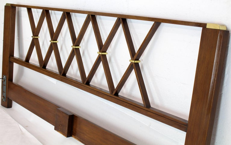 King-Size Headboard Bed 'X' Pattern Walnut and Brass For Sale 1